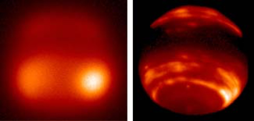Adaptive optics (right) bring greater clarity to a blurry image of Neptune's methane clouds (left). (University of Arizona)